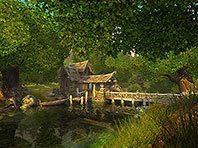 Watermill 3D screensaver screenshot. Click to enlarge